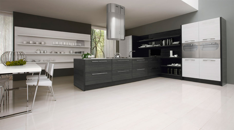 Contemporary black and white kitchen asia by futura for Black and white modern kitchen designs