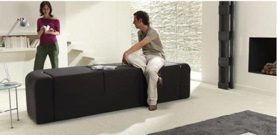 Contemporary Convertible Sofa Café&Leche By Ebuala