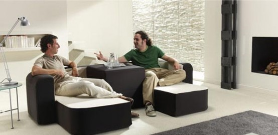 Contemporary Convertible Sofa Café Leche By Ebuala