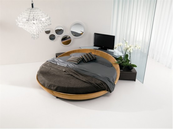 contemporary leather round beds by prealpi digsdigs. Black Bedroom Furniture Sets. Home Design Ideas