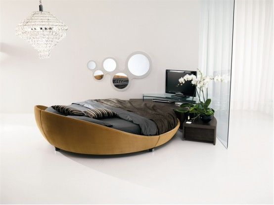 Contemporary Leather Round Bed By Prealpi