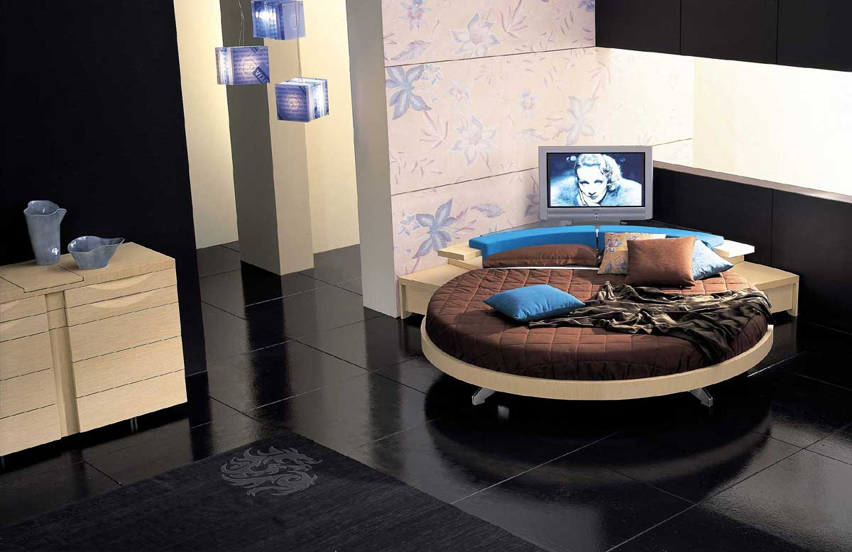 Contemporary leather round beds by prealpi digsdigs for Bedroom designs round beds
