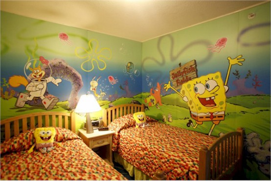 Sponge Bob themed shared kids' room is very colorful and bright and will be loved by those who enjoy cartoons