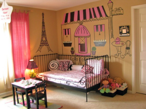 a cute Paris-themed kid's room will be loved by most girls, I totally like wall art and a black forged bed that brings French chic