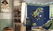 a dino meets pirates boy's room done in navy, green, white and with approppriate decor of both parts