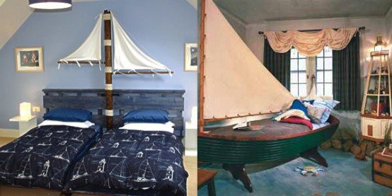 two ways of decorating a sea-inspired kids' room - adding boats and sails in different ways