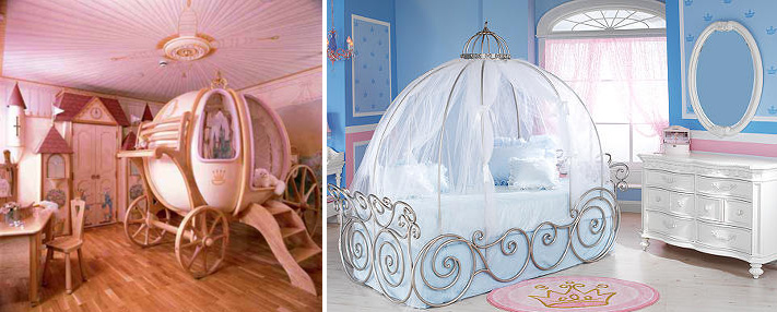 a princess themed kids' room done in two ways   pink or blue, with a carriage bed and refined white furniture