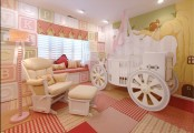 a pink and buttermilk princess-style girl's room with a carriage bed, comfortable furniture and letter tiles