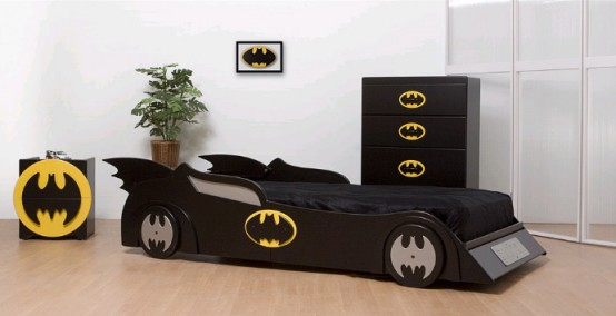a Batman-inspired room with a Batmobile bed, a bat dresser and a bat cabinet is a very edgy and bold idea