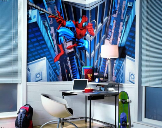 a blue Spiderman kid's room with a statement art on the wall is another cool idea for those who love super heroes