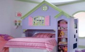 a cozy pastel house or castle-themed kid's room with a lavender house bed, pink bedding and bright furniture