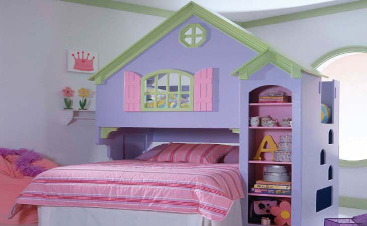 a cozy pastel house or castle themed kid's room with a lavender house bed, pink bedding and bright furniture
