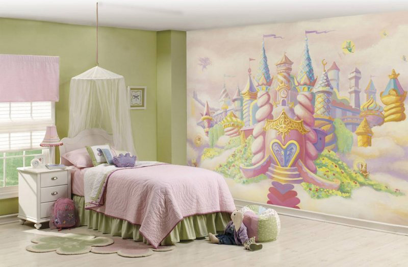 a princess castle inspired room with a bright castle wall, a bed with pastel bedding and a canopy, green furniture