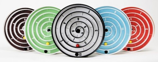 Cool Wall Clock with Balls instead Hands – Aspiral Clock by Will Aspinall and Neil Lambeth