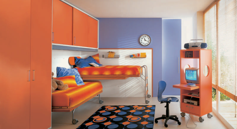 Cool and ergonomic bedroom ideas for two children by - Habitaciones color naranja ...