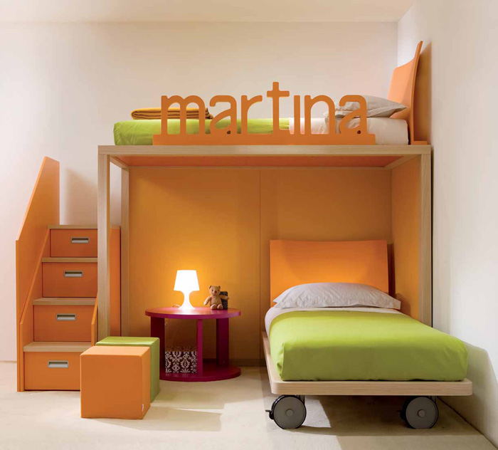 Cool and ergonomic bedroom ideas for two children by for Cool bed head ideas