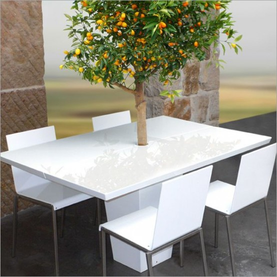 cool dining tables with integrated small treesmezza style - digsdigs Cool Dining Tables