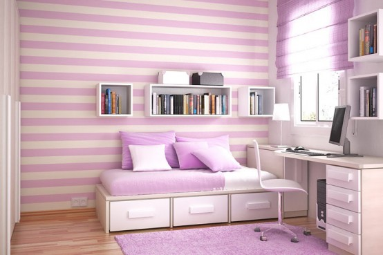 Stylish-violet-child-room-with-interesting-wall-design