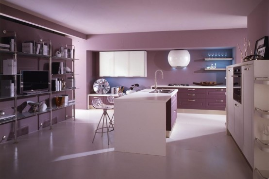 Modern-violet-kitchen-furniture-design-with-blue-lighting