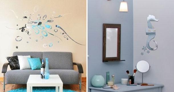 Дизайн интерьера.  Наклейки на стену с зеркальным эффектом от Acte
