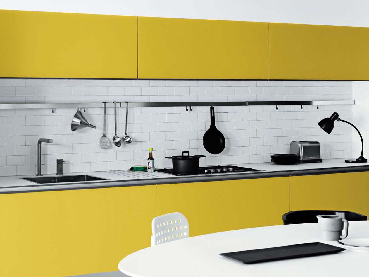 Cool white and yellow kitchen design vetronica by meson for White kitchen wall decor