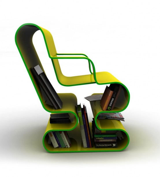 Curved Lounge Chair With Built In Book Storage