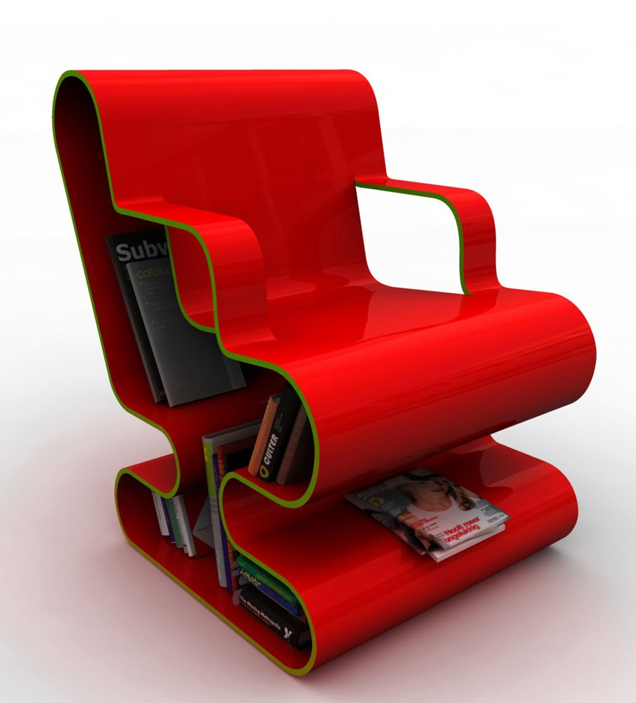 A curved lounge chair with built in book storage digsdigs for Stylish lounge chairs