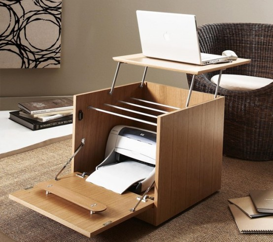 Small laptop desk archives digsdigs - Office furniture small spaces set ...