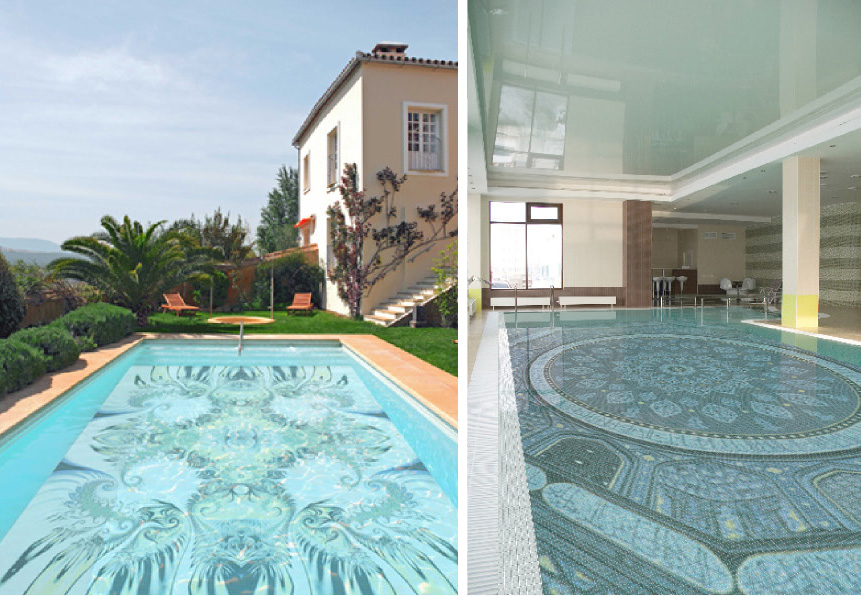 Fascinating swimming pool design with mosaic glass tiles for Swimming pool tile pictures