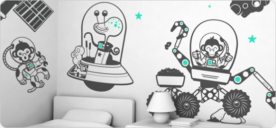 Giant Wall Sticker Sets for Cool Kids Room by E-glue