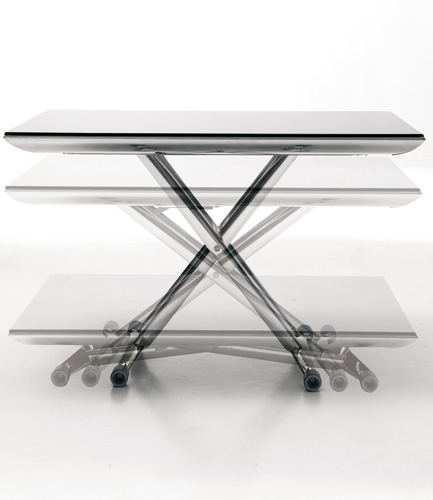 Glass Top Adjustable Low Table Magic By Ozzio