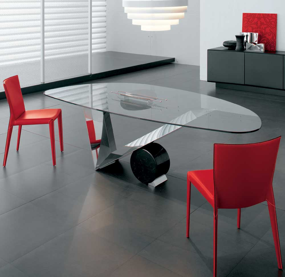 55 glass top dining tables with original bases digsdigs for Contemporary dining table designs