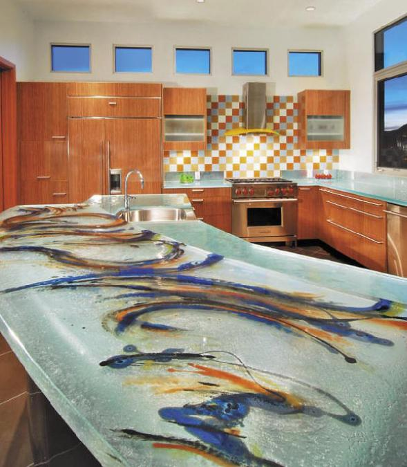 Glass Countertop Options : Glass Tops for Cool and Unusual Kitchen Designs from ThinkGlass ...