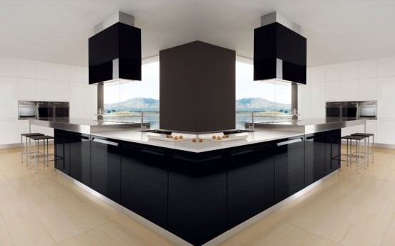 Glossy Black and White Kitchen