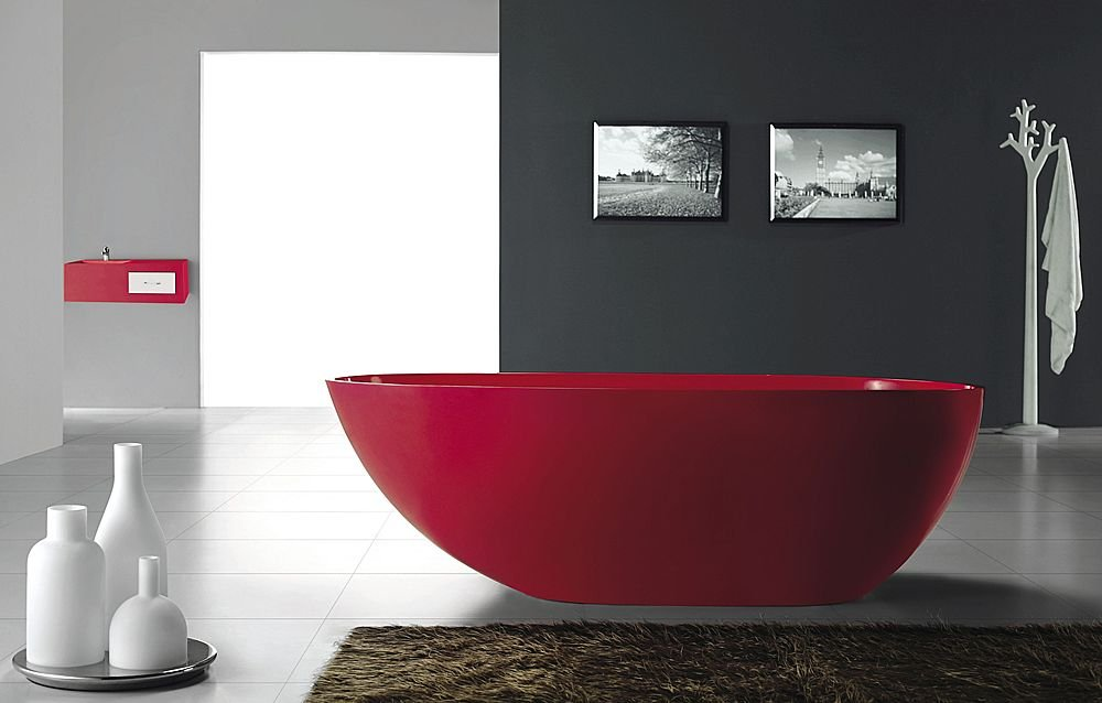 Gorgeous Red Freestanding Bathtub from Bella Stone
