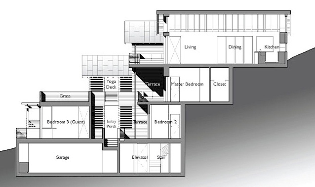 Amazing leed home with a very vertical design Vacation house plans sloped lot