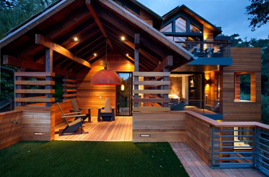 Luxury-wooden-house-terrace-with-wooden-chairs