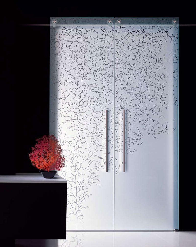 glass for doors patterned