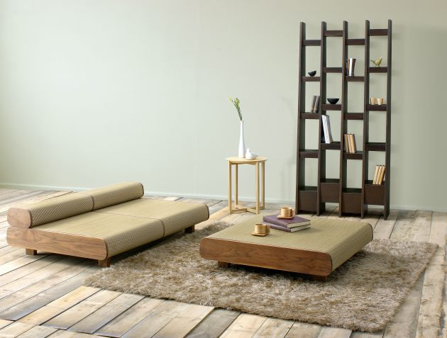 Japanese eco friendly sofa and ottoman agura by sajica for Minimalist japanese lifestyle