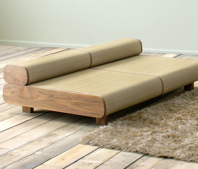 Japanese eco friendly sofa and ottoman agura by sajica for Sofa bed japan