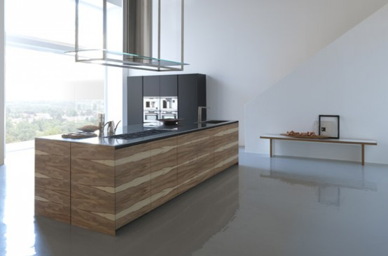 Large Kitchen Island With Wooden Finish – Twenty By Modulnova