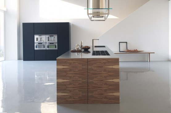 Large Kitchen Island With Wooden Finish Twenty By Modulnova