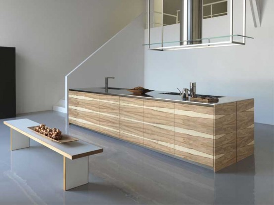 Large kitchen island with wooden finish – Twenty by Modulnovа