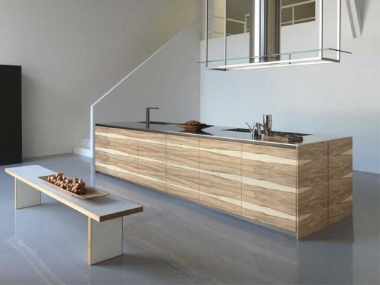 Large kitchen island with wooden finish – Twenty by Modulnovа