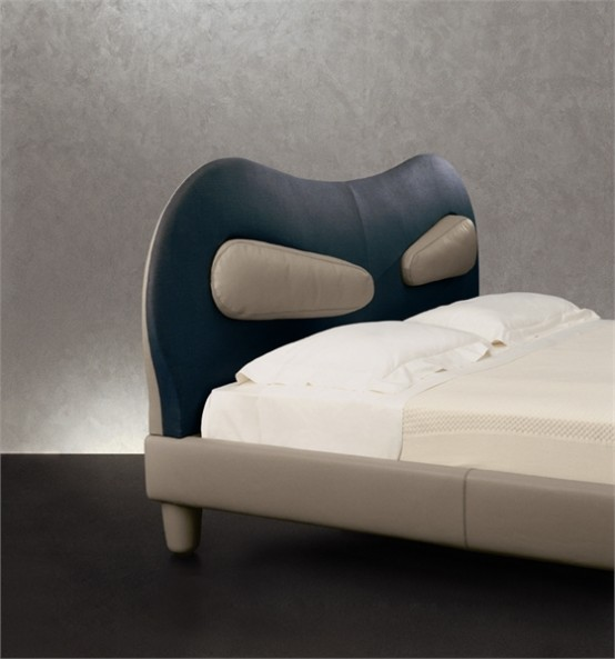 Leather Bed With Practical Headboard Venice By Giorgetti