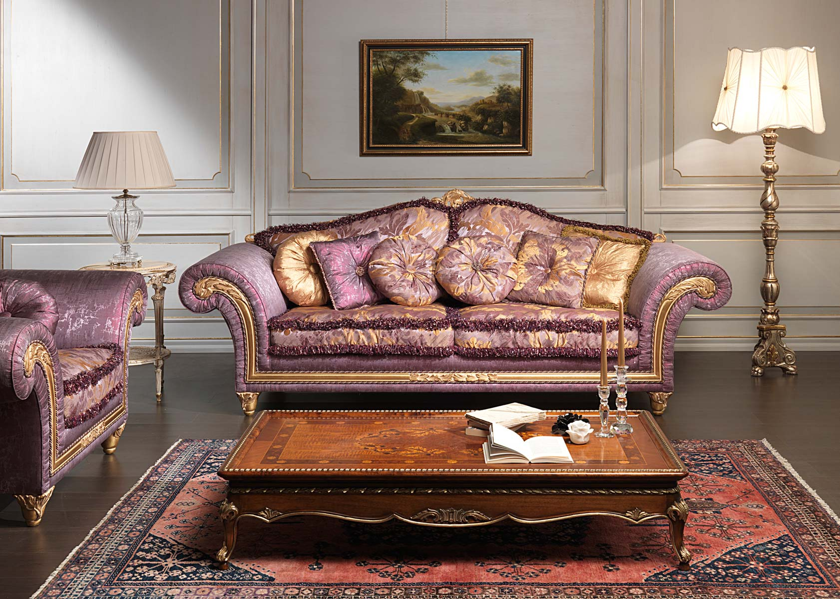 Luxury classic sofa and armchairs imperial by vimercati for Living room farnichar
