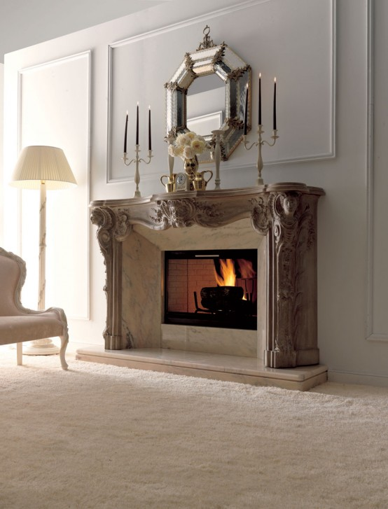 Living Room With Fireplace Design Ideas: Luxury Fireplaces For Classic Living Room By Savio Firmino
