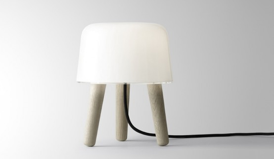 Cosy Lamp Made of White Translucent Glass and Oak – Milk Lamp by NORM Architects