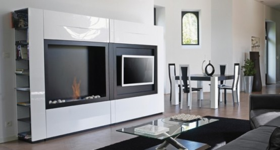 Minimalist TV Stand With Fireplace Fontana By Mobilier DeFrance