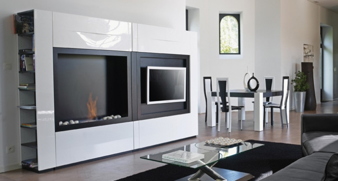 Minimalist TV-Stand with Fireplace – Fontana by Mobilier DeFrance